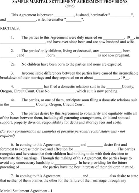 marriage agreement template marriage contract sle for excel pdf and word