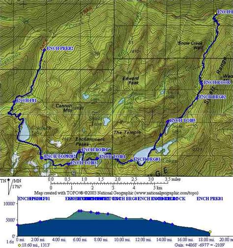 enchantments trail map enchantments in a day tnab hike and gps map waypoints and