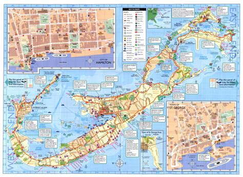 map of bermuda detailed road and tourist map of bermuda bermuda detailed road and tourist map vidiani