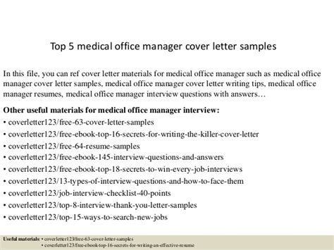 top 5 medical office manager cover letter sles