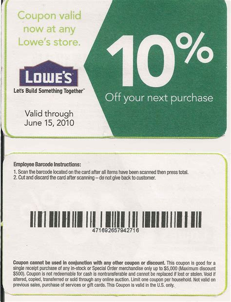 printable lowes coupon 20 10 codes december 2016
