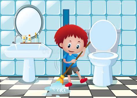 wozu dient ein bidet boy cleaning bathroom floor stock vector
