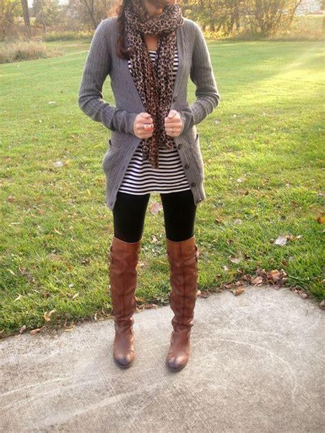 grey sweater leopard scarf striped tunic