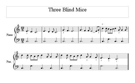 Three Blind Mice Song Piano what notes do you do for 3 blind mice on keyboard