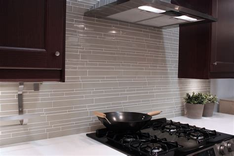 light taupe linear glass mosaic tile backsplash modern