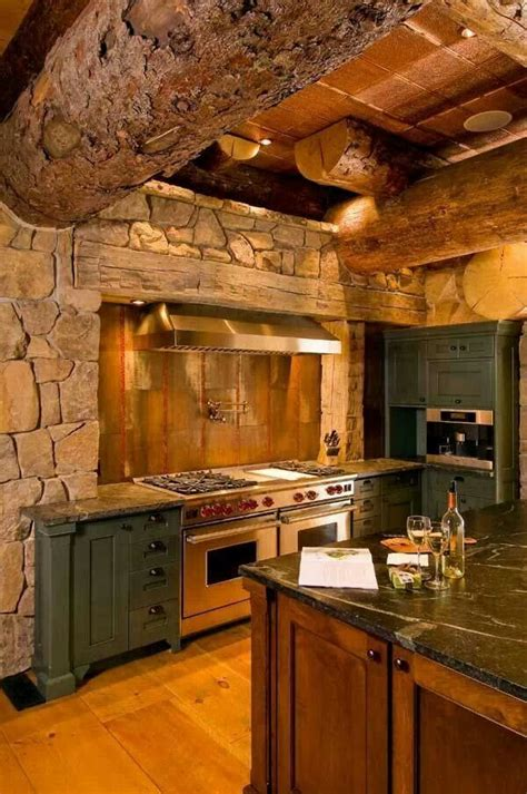 rustic bark log kitchen cabin kitchen bar