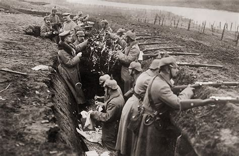 decorating a christmas tree in the trenches