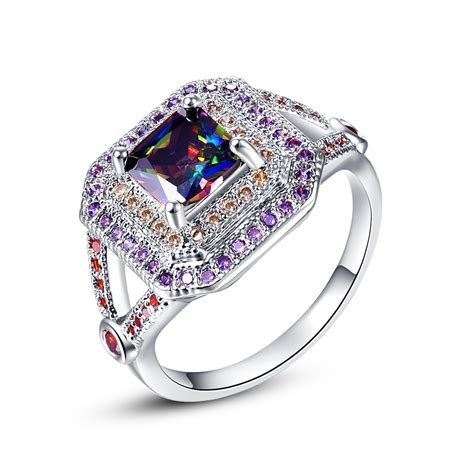 cqueen jewelry luxury wedding rings rainbow topaz