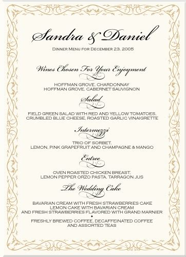menu card for wedding reception celtic wedding menu cards wedding products scottish wedding customs celtic wedding