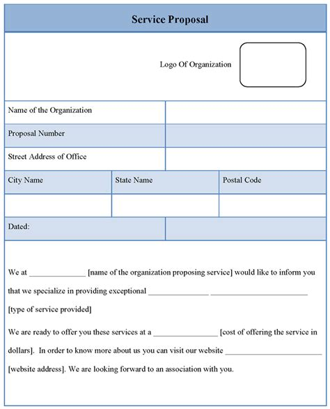 proposal template for service sle of service proposal