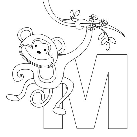 easy monkey coloring page animal alphabet letter m for monkey here s a simple