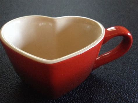 heart shaped mug cherry red le creuset heart shaped coffee or tea mug rare