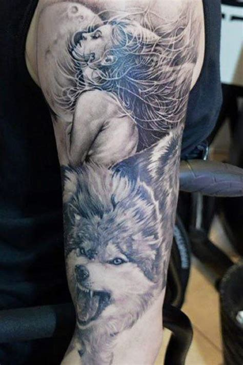 wolf arm tattoo moon with a beautiful and wolf on arm
