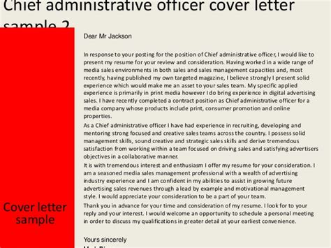 Hearing Officer Cover Letter by Chief Administrative Officer Cover Letter