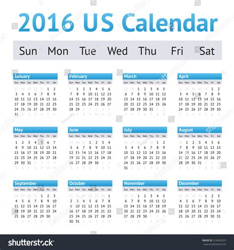 Why Calendars Start On Sunday 2016 Us American Calendar Week Starts On Sunday