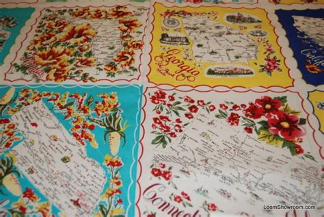 Quilting Fabric Usa by 451 Vintage Handkercheif Napkin Travel Usa State Cotton