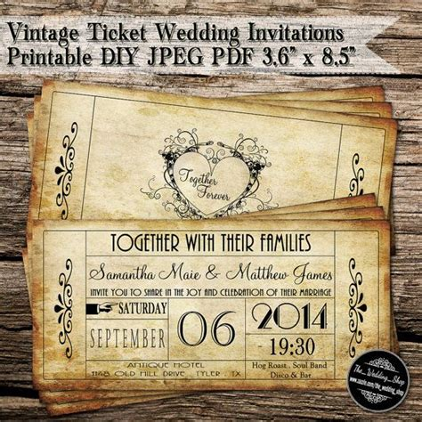 vintage ticket wedding invitations printable diy jpeg