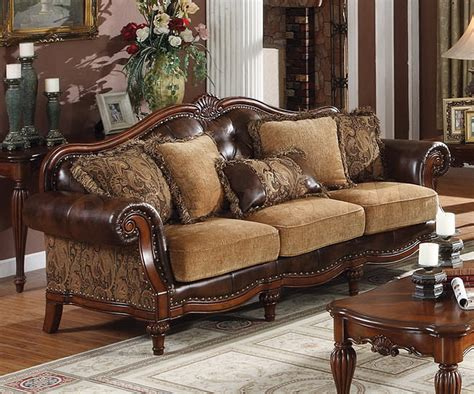 traditional sofas and loveseats dreena traditional bonded leather and chenille sofa acme