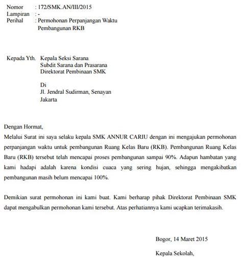 contoh surat permohonan perpanjangan waktu pembangunan