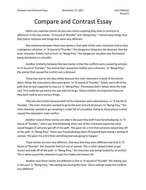 Compare And Contrast Essay Sle physical activity mrs bohaychuk s information station