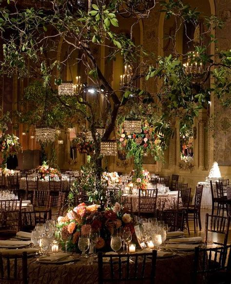 Enchanted Garden Decor Indoor Garden Wedding Trees With Mini Chandeliers Gorgeous All Things Wedding