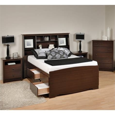 4 piece bedroom set twin or full huntington beach furniture 4 piece tall full double bedroom set in espresso ebd