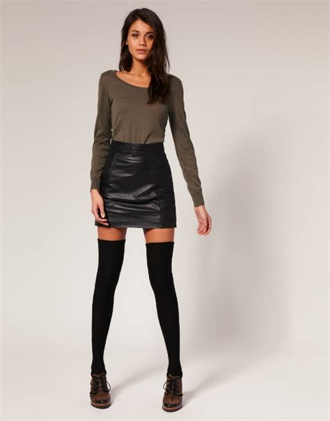 leather mini skirt thigh highs fashion