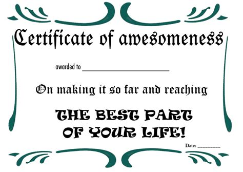 certificate of awesomeness template certificate of awesomeness template free printable