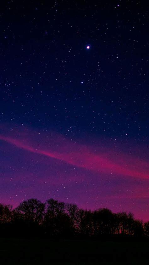 blue pink sky starry night nature  wallpaper