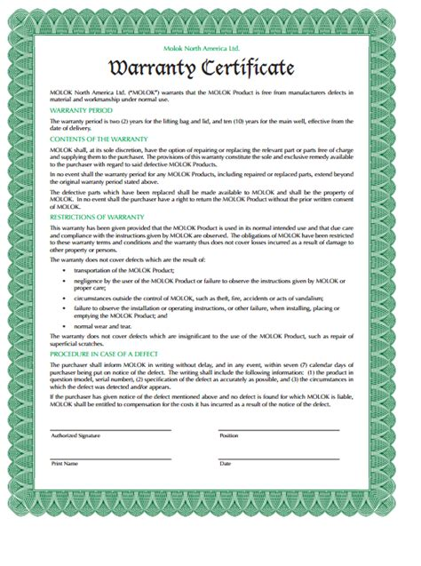 warranty certificate templates formats examples