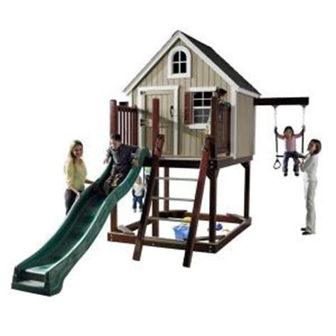 tree swing home depot homeplace structures treehouse loft with swings slide
