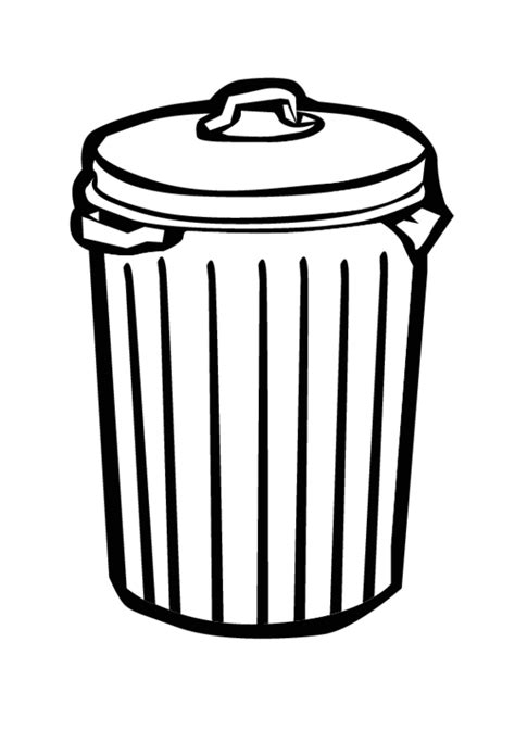 Free Black And White Trash Can Coloring Pages Can Coloring Page