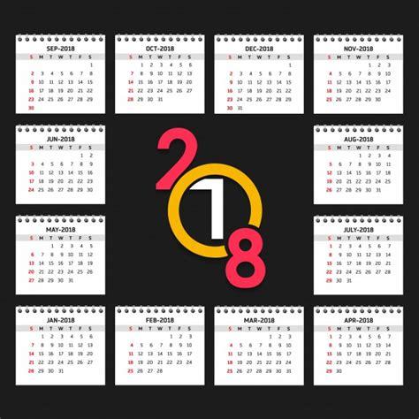 Calendar Template 2018 Psd 2018 Calendar Vector Free