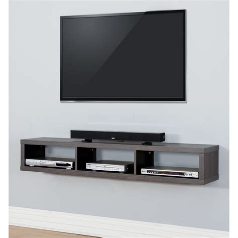 Tv On Floating Shelf by Storage Mounted Tv Black Polished Wooden Floating