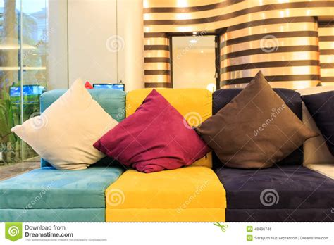 pillows on colorful leather sofa stock photo image 48496746