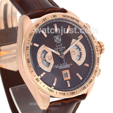 Tagheuer Calibre 16 Rosegold Blue Brown Leather replica tag heuer grand calibre 17 working chronograph gold