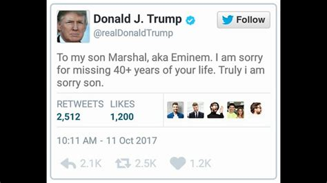 donald trump reacts to eminem president donald trump s official response to eminem s bet