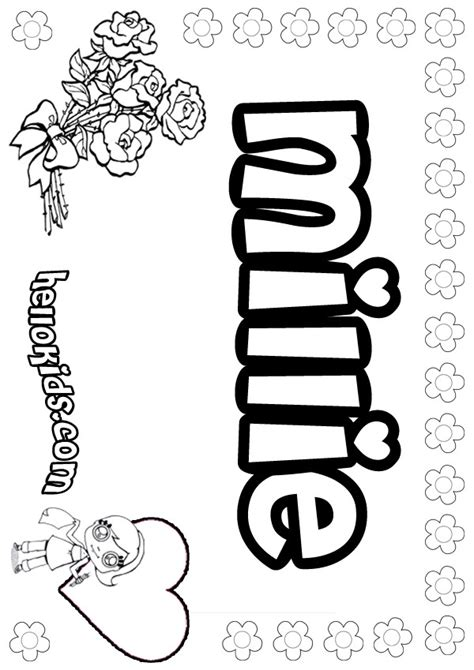 Girly M Coloring Pages by Name Coloring Pages Millie Girly Name To Color