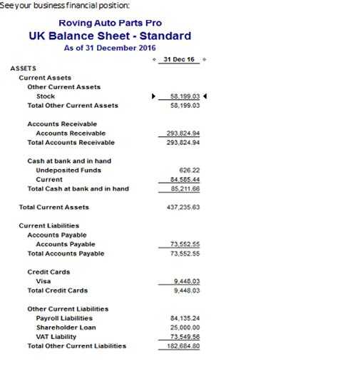 Balance Sheet Report In Quickbooks Quickbooks Balance Sheet Template