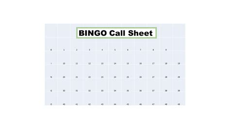 bingo calling cards template bingo call sheet for use with all bingo cards sold