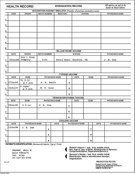printable immunization records