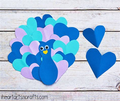 Cool Construction Paper Crafts - peacock family crafts