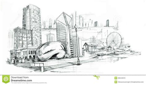 Chicago City Pencil Drawing Stock Photo   Image: 26044970