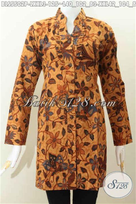 Atasan Jawa Shanghai baju batik atasan elegan untuk wanita blus batik lengan panjang kerah shanghai warna klasik
