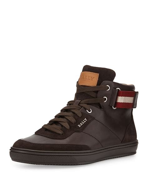 high top bally sneakers bally leather high top sneaker in brown for lyst