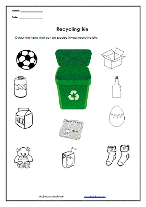 Recycle Worksheets by Worksheets