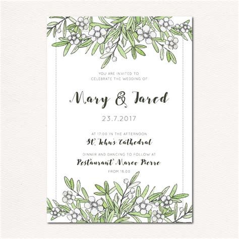 Wedding Invitation Cdr by Wedding Invitation With Leaves And Flowers Vector Free