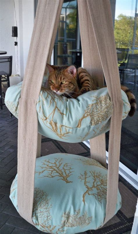 hanging cat bed 2 level hanging cat bed coral print kitty cloud