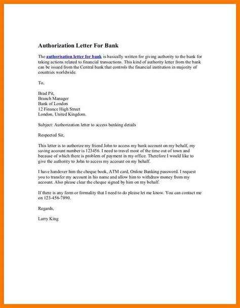 sample authorization letter bank templates