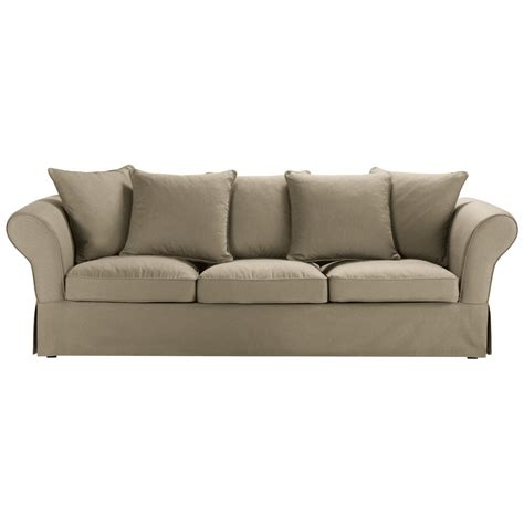 cotton sofas 4 5 seater cotton sofa in taupe roma maisons du monde